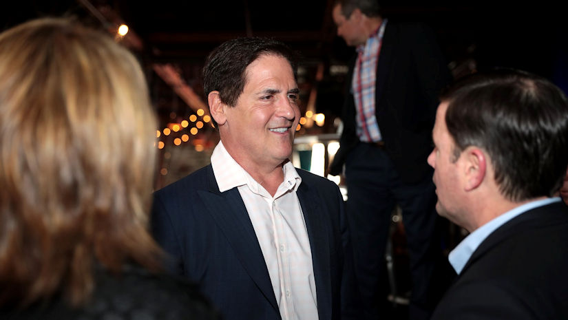 Mark Cuban speaking with Governor Doug Ducey at the 2019 Arizona Technology Innovation Summit at The Duce in Phoenix, Arizona